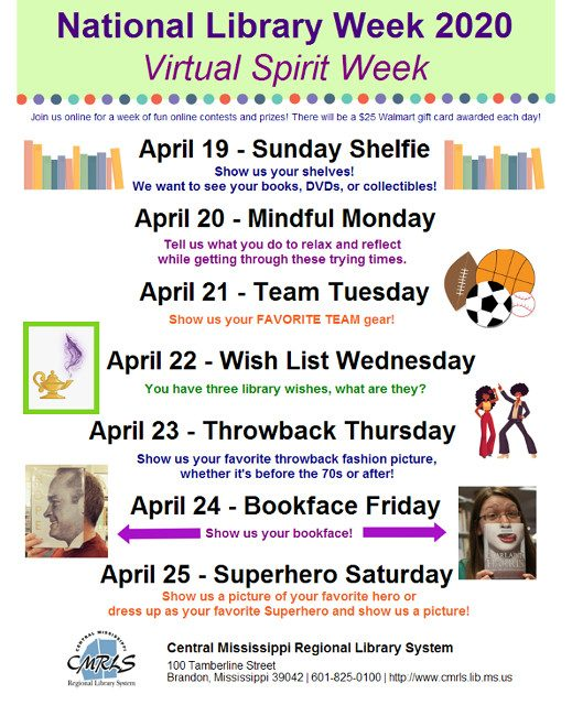 Central MS Regional Library System Hosts Virtual Spirit Week During National Library Week 2020