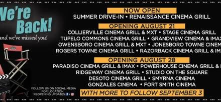 Malco Theatres Share Their Opening Schedule